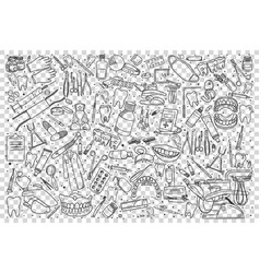 Stomatology doodle set vector
