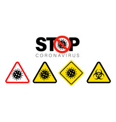 stop danger symbol coronavirus biohazard sign vector image