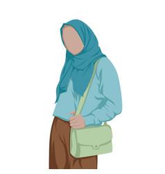 stylish hijab women stylish muslim women carry vector image