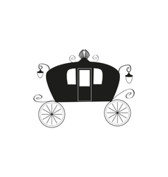 The black silhouette of a vintage carriage on an vector image