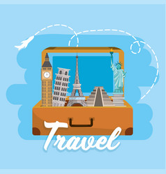 travel briefcase with global international vector image