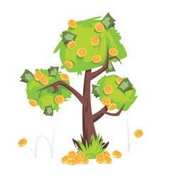 tree with money bills and coins on green foliage vector image