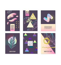 Trendy abstract posters set with golden elements vector