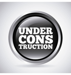 Under construction silver button isolated icon vector
