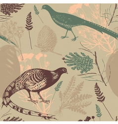Vintage bird wilderness pattern vector