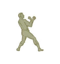 Vintage Boxer Fighting Stance Mono Line vector