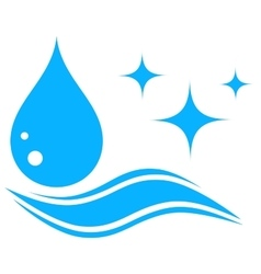 Water icon with drop and wave silhouette vector
