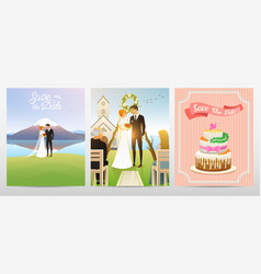 wedding card bride and groom valentines day vector image