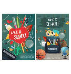 Welcome to school posters with stationery supplies vector