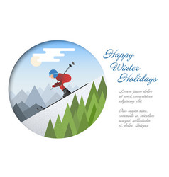 winter card template with skier vector image