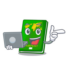 With laptop green passport in a character bag vector