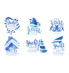 yacht club logo collection sailing sports vector image