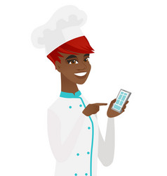 young african-american chef holding mobile phone vector image