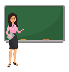 Young female teacher near blackboard teaching vector