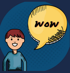 Young man and speech bubble with wow messague vector