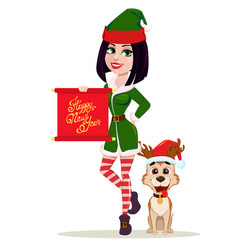 elf woman holding scroll and cute dog sitting near vector image