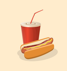 hot dog and soda cup - cute cartoon colored vector image vector image