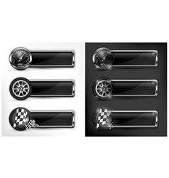 icons speedometer races checkered flag vector image