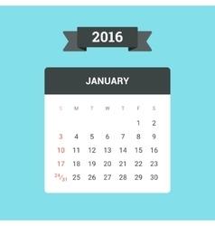 January 2016 Calendar vector image