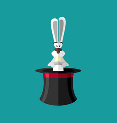 magic trick rabbit in hat magical cap and bunny vector image vector image