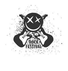 rock festival monochrome logotype with electric vector image vector image