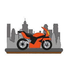 sport racing motorcycle in the city vector image