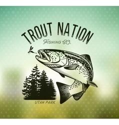 Vintage trout fishing emblems vector image vector image