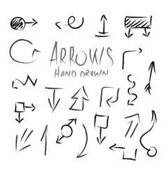 Arrows hand drawn ink imitation set isolated vector