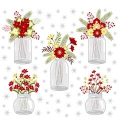 Christmas Flowers In Jars vector image