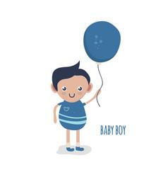 Cute little baby boy with balloon vector