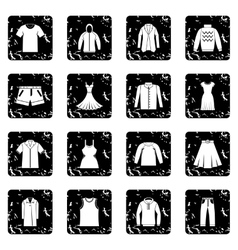 Different clothes icons set vector image
