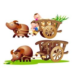 farmer buffalo vector image vector image