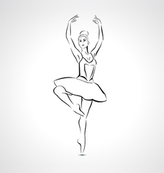 Silhouette beautiful ballerina in ballet pose vector image vector image