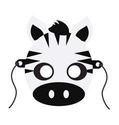 zebra carnival mask striped black white animal vector image vector image