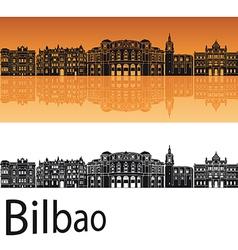 Bilbao skyline in orange background vector image vector image