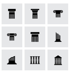 black column icon set vector image vector image