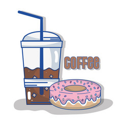Delicious coffee plastic cup and donut vector