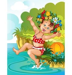 Little girl bathe in sunshine Vacation theme vector image vector image