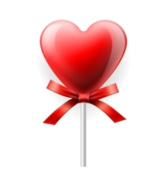 Red heart-lollipop isolated on white vector image vector image