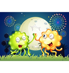 A carnival with two very happy monsters vector image vector image