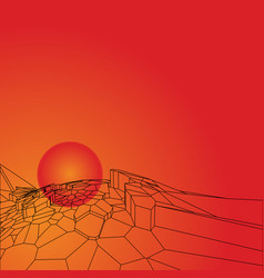 abstract polygonal mountains on the sun background vector image