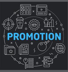 Black line flat circle promotion vector