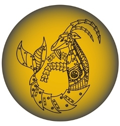 Capricorn in steampunk style horoscope sign vector
