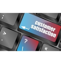 customer satisfaction key word on computer vector image vector image
