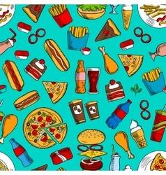 Fast food snacks drinks dessert seamless pattern vector image vector image