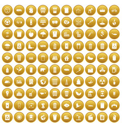 100 ecology icons set gold vector
