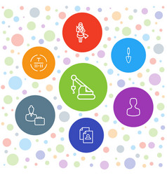 7 worker icons vector image
