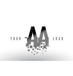 Aa a pixel letter logo with digital shattered vector
