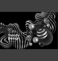 Abstract background with realistic blackand silver vector