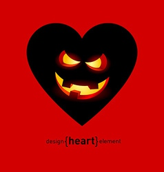 Abstract design element heart with helloween smile vector image